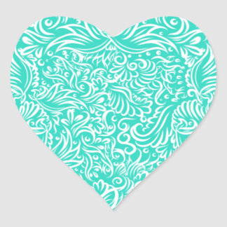 The flowing vines of sea green heart sticker