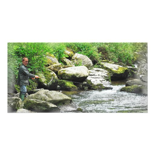 The Fly Fisherman as a painting. Personalized Photo Card