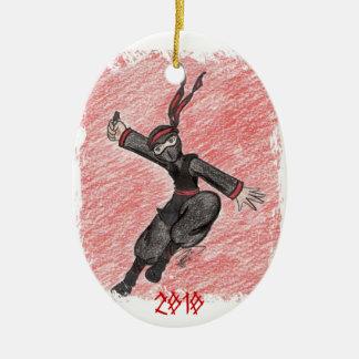 The Flying Ninja Ceramic Ornament