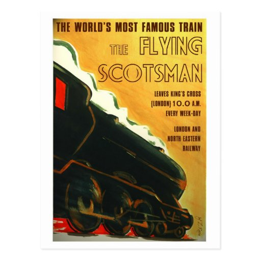 The Flying Scotsman vintage style postcard