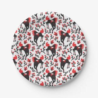 The Folk Art Horses Vector Seamless Pattern Paper Plate