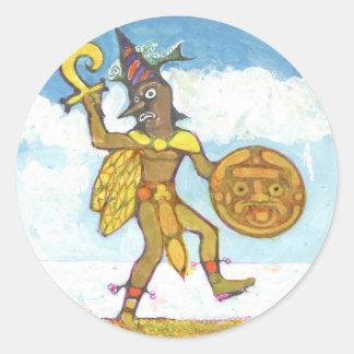 The fool colour - Aztec Button Classic Round Sticker