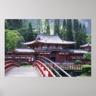 The Footbridge - Byodo-In Temple Poster