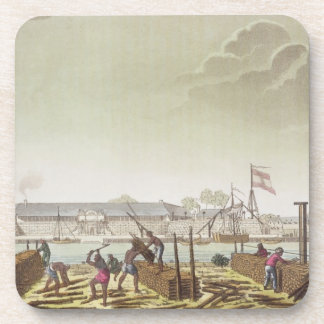 The Fort at Batavia with Native Loggers, plate 50 Coasters