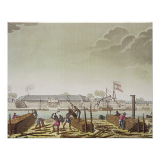 The Fort at Batavia with Native Loggers, plate 50 Poster