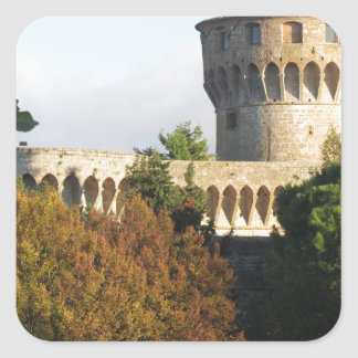 The Fortezza Medicea of Volterra, Tuscany, Italy Square Sticker