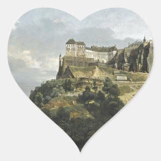 The Fortress of Konigstein by Bernardo Bellotto Heart Sticker