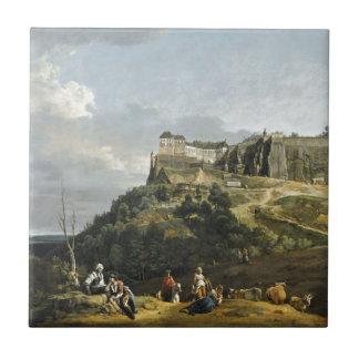 The Fortress of Konigstein by Bernardo Bellotto Small Square Tile