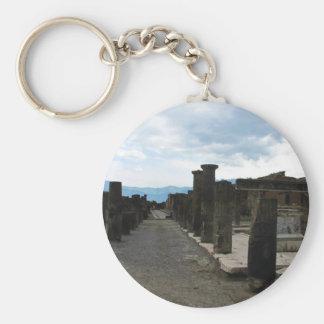 The FORUM OF POMPEII - Column fragments Basic Round Button Key Ring