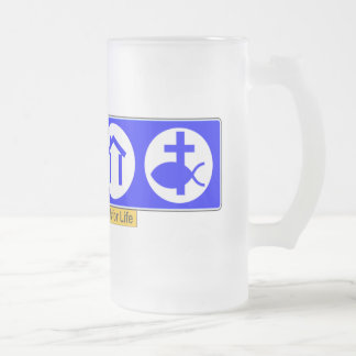 The Four Essentials for Life Frosted Glass Beer Mug