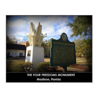 THE FOUR FREEDOMS MONUMENT - MADISON, FL POSTCARD