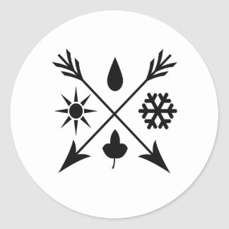The four seasons-black classic round sticker