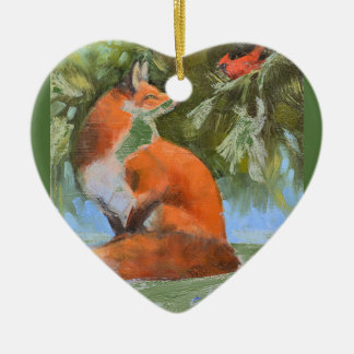The Fox and the Cardinal Ceramic Ornament