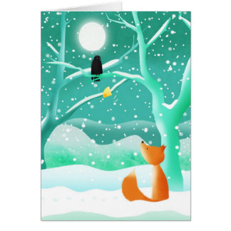 The fox and the crow - greeting card