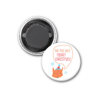 the Fox says Marry Xmas! 3 Cm Round Magnet