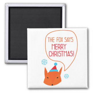 The Fox says Merry Christmas! Refrigerator Magnets