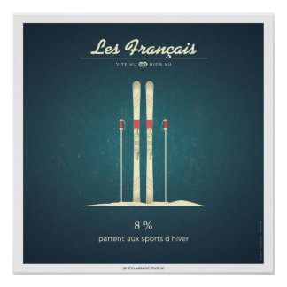 The French who leave to the winter sports Poster