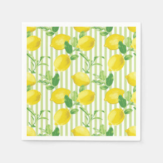 The Fresh Striped Lemon Vector Seamless Pattern Disposable Serviettes