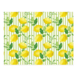 The Fresh Striped Lemon Vector Seamless Pattern Postcard