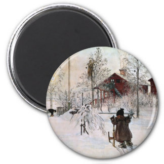 The Front Yard and Wash House in the Snow 6 Cm Round Magnet