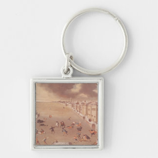 The Frozen Lagoon in 1708 Silver-Colored Square Key Ring