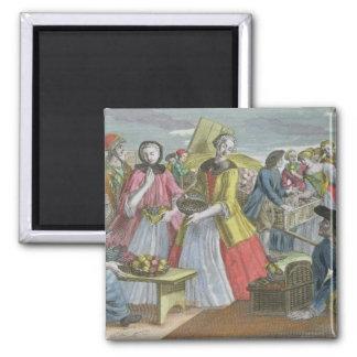 The Fruit Market (coloured engraving) Fridge Magnet
