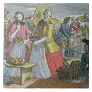 The Fruit Market (coloured engraving) Ceramic Tile