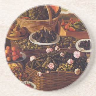 The Fruit Seller in detail by Vincenzo Campi Drink Coaster