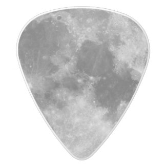 The Full Moon White Delrin Guitar Pick
