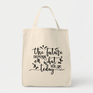 The Future Depends Typography Tote