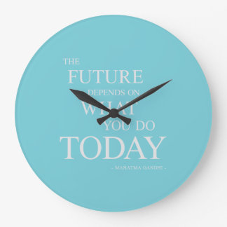 The Future Inspiring Motivational Quote Blue Clock