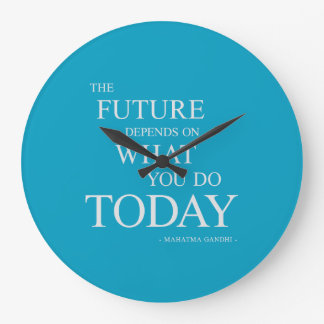 The Future Inspiring Motivational Quote Clock Blue