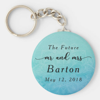 """The Future Mr. & Mrs"" Teal & Blue Mandala Key Ring"