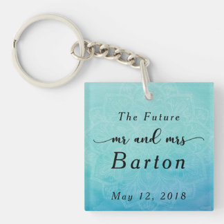 The Future Mr & Mrs Typography Teal & Blue Mandala Key Ring