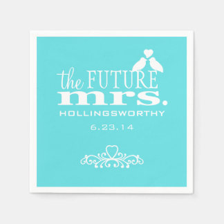 The Future Mrs. Aqua Blue Bridal Shower Paper Napkins