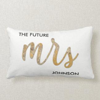 The Future/New Name Black White Faux Gold Foil Lumbar Cushion