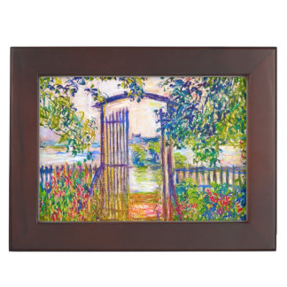 The Garden Gate at Vetheuil Claude Monet painting Keepsake Box
