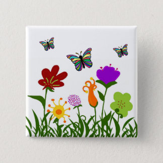The garden with butterflies 15 cm square badge