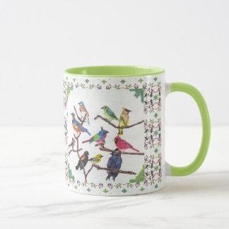 The Gathering Colorful Songbirds Patterned Mug