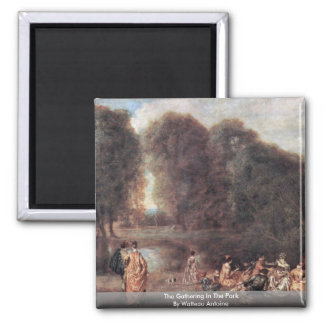 The Gathering In The Park By Watteau Antoine Refrigerator Magnet
