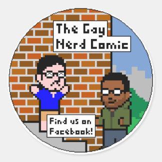 The Gay Nerd Comic Round Stickers