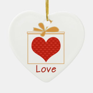 The Gift of Love Personalized Heart-Shaped Pendant Ceramic Ornament
