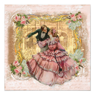 The Girl in the Pink Ruffled Dress 13 Cm X 13 Cm Square Invitation Card