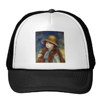 The girl of the farmer who wears the wheat straw h cap