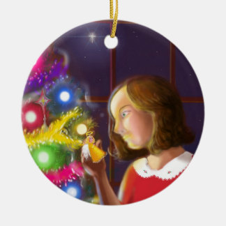 The Girl & the Angel of the Tree Round Ceramic Decoration