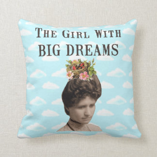 The Girl With Big Dreams (and big hair) Collage Cushion