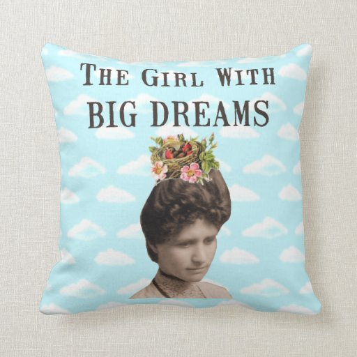 The Girl With Big Dreams (and big hair) Collage Pillows