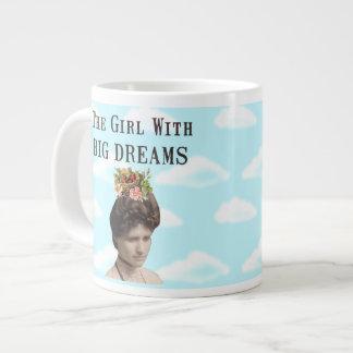 The Girl With Big Dreams Vintage Photo Collage Large Coffee Mug