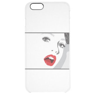 The girl with red lipstick. clear iPhone 6 plus case