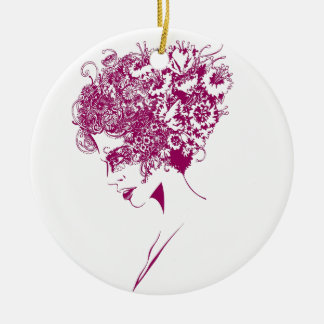The girl with the flowers round ceramic decoration